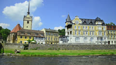 City Gera, Germany. church and bridge in district Untermhaus Stock Footage