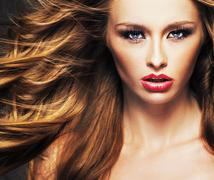female model with sensual lips and brown hair - stock photo