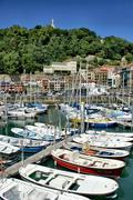 san sebastian (donostia) harbour - stock photo