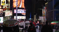 Night NYC Illuminated City Pedestrian Rain, Umbrella, Times Square New York City Footage
