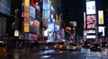 Times Square New York City Illuminated Late Night Rush Hour Pedestrians Crossing HD Footage