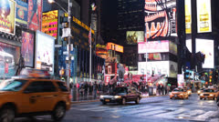 Famous Broadway, Yellow Cab, Rush Hour, Night, People Times Square New York City - stock footage