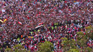 Overhead view of a large rally in Tahrir Square in Cairo, Egypt. Stock Footage
