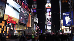 Crowds of People in Bright Times Square New York City Famous Tourist Destination Stock Footage