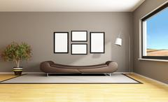 brown modern livingroom - stock illustration
