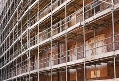 Scaffold on old building Stock Photos