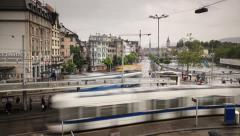 Trams on Zurich Street, Switzerland Ultra HD Stock Footage