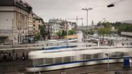 Stock Video Footage of Trams on Zurich Street, Switzerland Ultra HD