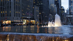 NYC Avenue Of The Americas, New York City Busy Traffic Commuters, Water Fountain Stock Footage