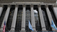Wall Street New York Stock Exchange, Downtown, Financial District City US Market - stock footage