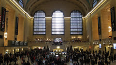 Grand Central Terminal, Crowds of People Commuters Morning walking going to work Stock Footage