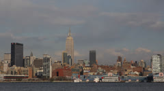 New York City NYC Skyline, Apartments Buildings, Highrise, Waterfront Urban Area - stock footage