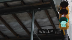 Wall Street Sign, Light Traffic,  New York City, Downtown, Financial District Stock Footage