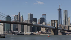 Downtown Manhattan 1 WTC, Sunny Day New York City Skyline One World Trade Center Stock Footage