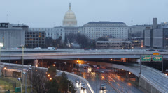 Stock Video Footage of Aerial View Traffic Southeast  I-695 US S Capitol Street Washington DC Highway