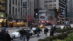 Walkway Pedestrians Walking, NYPD Patrol Car, New York City Busy Traffic Jam Car Stock Footage