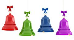 colorful  christmas bells - stock illustration