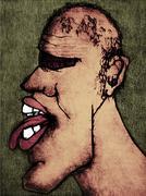 rude cartoon man - stock illustration