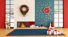 modern christmas interior - stock illustration
