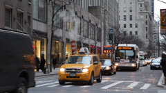 NYC Avenue Of The Americas, New York City, Busy Traffic Commuters, Work to Home - stock footage
