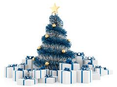 Christmas tree with gifts Stock Illustration