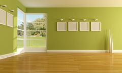 green empty room - stock illustration