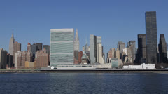 UN Plaza, East River Waterfront, NYC Skyline Empire State Building New York City Stock Footage