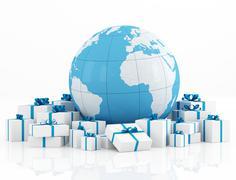 earth globe and gift box - stock illustration