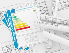 energy certificate concept - stock illustration