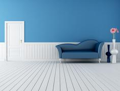 blue and white retro interior - stock illustration