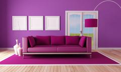 country purple living room - stock illustration
