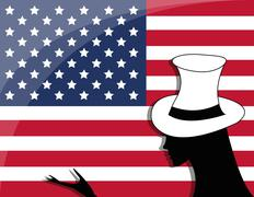 american flag and girl - stock illustration