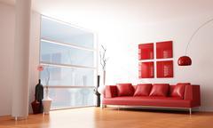 Stock Illustration of minimalist living room