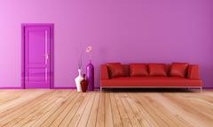 purple and red living room - stock illustration