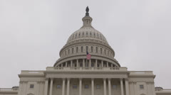 Cloudy Foggy Day Facade United States Capitol Building Washington DC US Congress Stock Footage