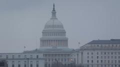 Talvi sumu Aerial View United States Capitol Building, Washington DC Yhdysvaltain kongressin Arkistovideo