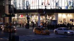 Illuminated Crowd People Crossing Street New York City NY NYC Busy Traffic Night Stock Footage
