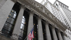 American Flag, Wall Street New York Stock Exchange, Financial District US Market Stock Footage