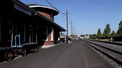Train arriving at the Eugene OR. Station. Stock Footage