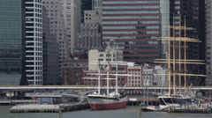 Sailboats, New York City Skyscrapers, Downtown Pier, Hudson River, Old Ship, Day Stock Footage