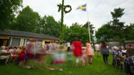 Stock Video Footage of Midsummer festivities, time-lapse