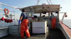 Lobstermen Working on Lobster Boat, Maine Stock Footage