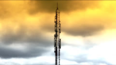 Tower cloudscape media antenna timelapse Stock Footage