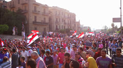 Protestors march in Cairo, Egypt. Stock Footage
