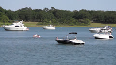 Boats floating in lake Stock Footage