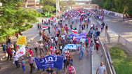 Stock Video Footage of Protestors march in Cairo, Egypt.