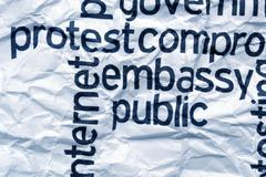 protest embassy text on  crinkled paper - stock illustration