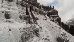 Frozen Waterfalls Aerial View Stock Footage