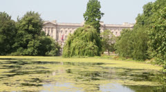 Buckingham Palace from Saint James's Park Stock Footage