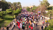 Stock Video Footage of A large protest march in Cairo, Egypt